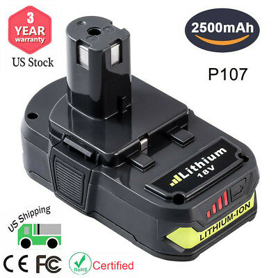 P107 Replace for Ryobi 18V Lithium ion Battery 2500mAH One+ P102 P103 P105 P108