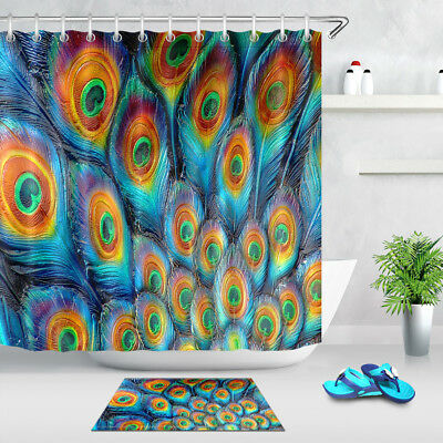 Painted Peacock Feather Pattern Waterproof Fabric Shower Curtain Liner Hooks