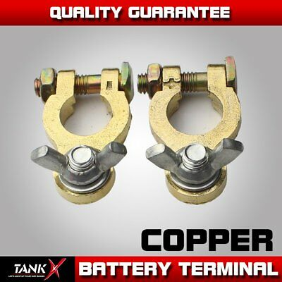 2pcs Auto Car Replacement Copper Battery Terminal Clamp Clips Brass Connector