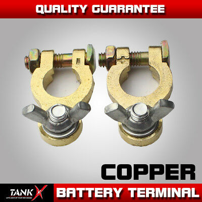 2pcs Auto Car Replacement Battery Terminal Clamp Clips Brass Connector Copper