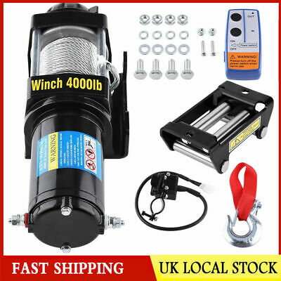 4000lb Heavy Duty Electric Recovery Cable Winch 12V Remote Control Rope Trailer