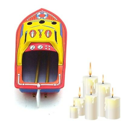 Nostalgic Candles Powered Pop Pop Steam Boat Put Put Ship Collectible Tin Toys