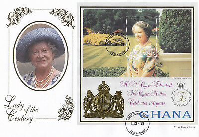 (74205) Ghana FDC Queen Mother 99 Years Lady of Century Accra 4 Aug 1999 large