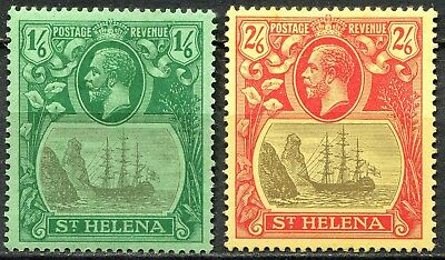 St Helena 1922 Multiple Crown issue, SG 93 & 94, 1/6d & 2/6d Mint Hinged, CV £50