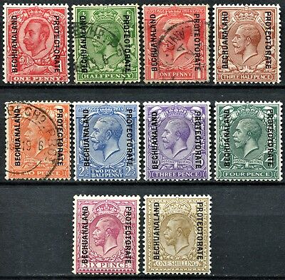 Bechuanaland 1912/13 GB Overprints, bet. SG 72 - 82, Mint Hinged & Used, CV £65