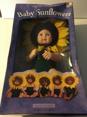 NEW - ANNE GEDDES Baby Sunflower Doll New Damaged Box