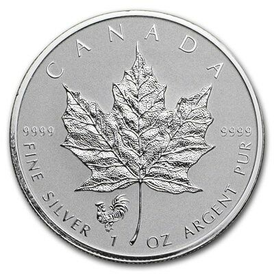 CANADA 5 Dollars Argent 1 Once Maple Leaf 2017 Marque Coq