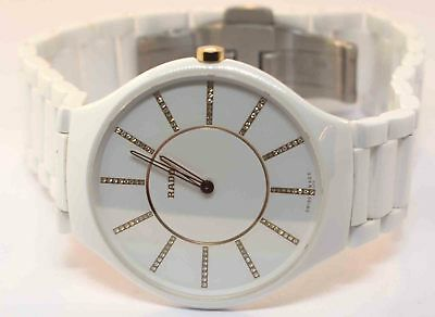 84fa2812e Rado Ladies True Thinline Diamond Accent White Ceramic Bracelet Watch New