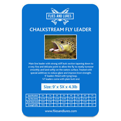 Chalk stream Tapered trout fly fishing line leader 2X 3X 4X 5X 6X   9' &12'