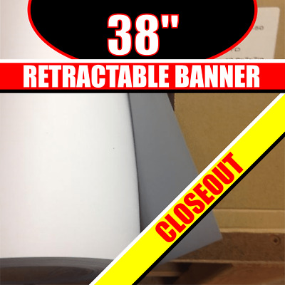 """NICEWELL 38"""" Retractable Banner Material White Digitally Print Grey Back"""