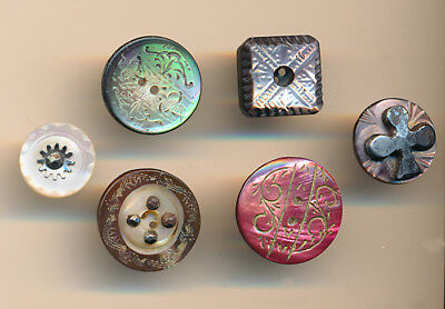 6 Victorian Pearl Buttons; Whistle, Carved, Iridescent, Dyed, Clover Shape Steel