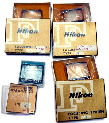 4 Genuine Vintage Nikon Nikkor Focusing Screens Camera Accessory Nikon F F3