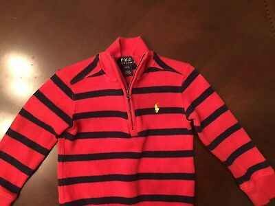Polo Ralp Lauren Toddler Boys Half Zip Sweater Red and Blue Stripes 2T