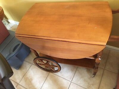 Vintage Wooden Drop Leaf Tea Cart Table with wheels sides pop up for table,