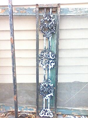 "Antique Fancy Cast Iron Decorative Panel-Architectural Salvage  4'2""  2 Availabl"