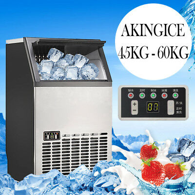 60kg/24hr Commercial Ice Maker Stainless Steel Machine Restaurant Bar Icemaker