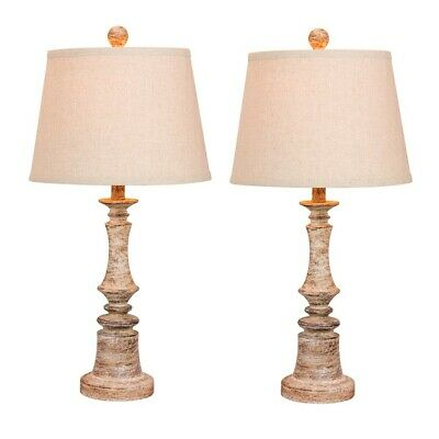 "Fangio Lighting Pair of 26.5"" Candlestick Table Lamps, Beige - W-6240CABG-2PK"