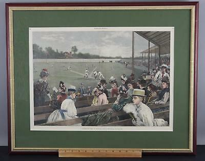 19thC Antique 1889 Harper's Weekly A Collegiate Game of Baseball Wood Engraving