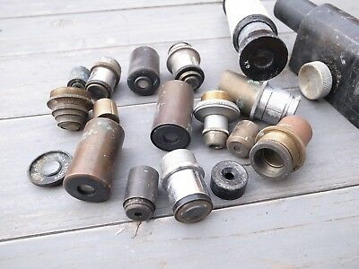 Assorted Microscope Scientific Brass Antique Lens / Parts / Spares Lot
