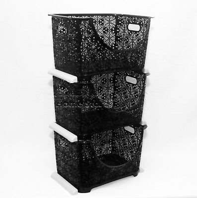 3Tier Stacker Nester Vegetable Veg Rack Storage Basket Kitchen Office BLACK