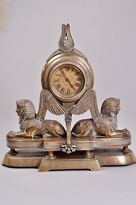 RARE Antique Stunning French Egyptian Revival Mantel Clock Sphinx Brass Bronze