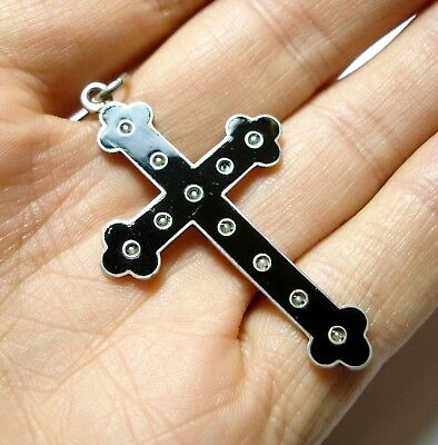 Beautiful Old Antique 19Th C Victorian Silver Pearl & Enamel Mourning Cross (B9)