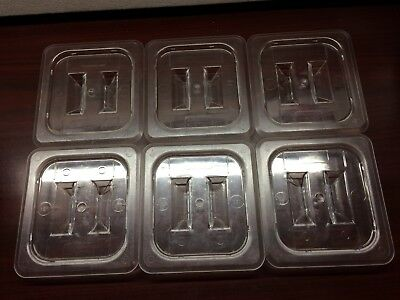 Lot of 6-1/6 Size Clear Plastic Steam Prep Table Food Lid Polycarbonate Cover