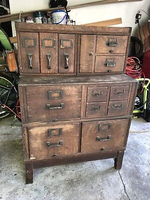 Antique Oak Yawman & Erbe Stacking Card Library File Cabinet NY Original