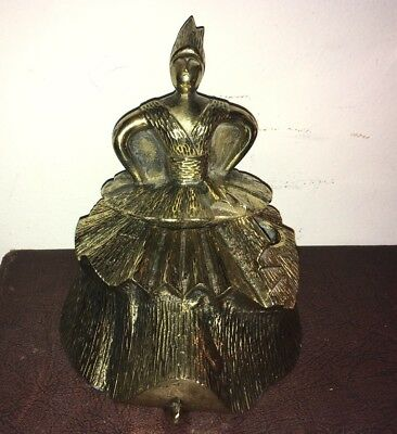 BEAUTIFUL UNIQUE UNUSUAL ANTIQUE VINTAGE BRASS BRONZE Figural INK WELL Box
