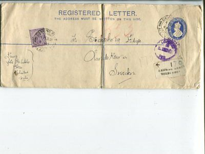 India uprated long reg stationery cover to Sweden 1921, mid fold