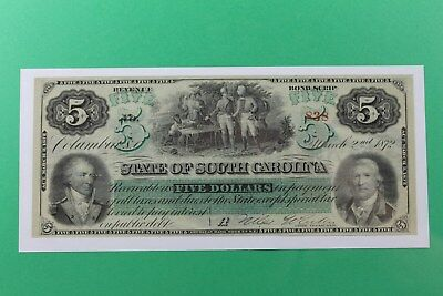 1872 $5 State of South Carolina Columbia Obsolete Note Crisp Unc Sharp
