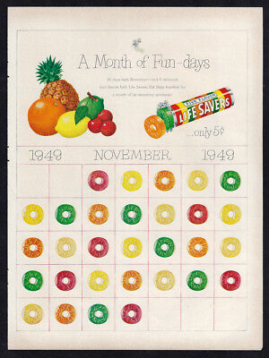 Vintage 1949 LIFE SAVERS Candy - A Month of Fun Days Magazine Print Ad