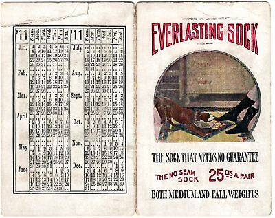 Louisville Kentucky Early Advertisement Everlasting Sock No Seam 25¢ Pair 1911!!