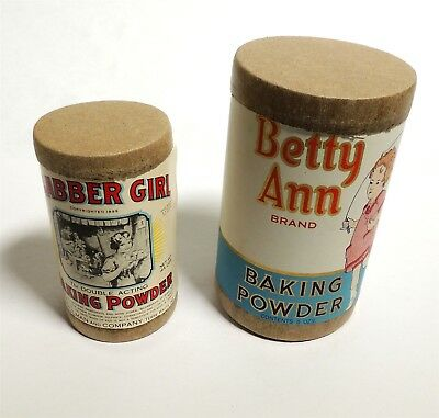 M920. Antique Lot of 2 Baking Powder Canisters CLABBER GIRL & Betty Ann (1930's)