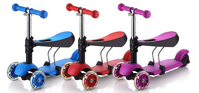 Kids 3 in 1 Wheel Scooter LED Wheels & Laser Lights T-Bar Tilt Push with Seat