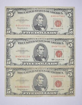 Lot of 3 - RED SEAL - $5.00 United States Notes - 1963 Lot Collection *347