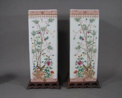 Nice Signed Pr Of Antique Chinese Square Vases Or Hat Stands With Wood Stands