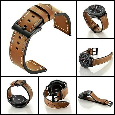 Samsung Gear S3 Genuine Brown Leather Replacement Buckle Strap Wrist Band 22MM