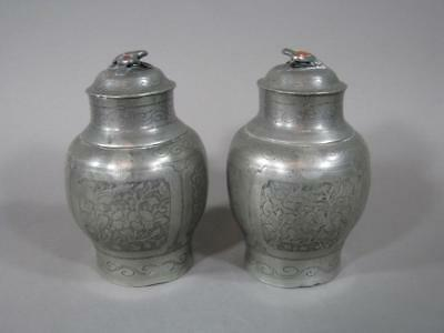 Nice Pr Of Antique Chinese Engraved Pewter Covered Jars, Caddies, 18/19THC, Jade