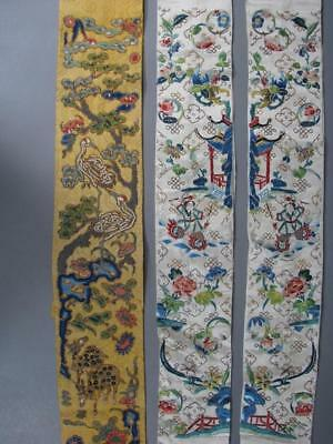 3 Nice Antique Chinese Embroidered Textile Panels, One In Gold With Cranes, Deer