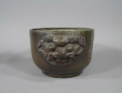 Signed Antique Chinese Bronze Censer, Xuande Mk, Lg Mask Handles, Jardiniere