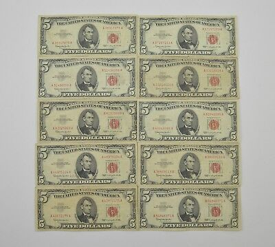 Lot of (10) $5.00 Red Seal Old US Notes Currency Collection 1963 *301