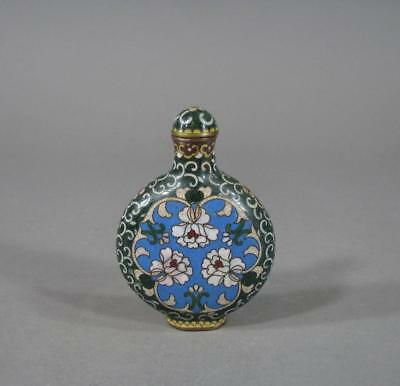 Nice Signed Antique Chinese Cloisonne Snuff Bottle, Qianlong Mark