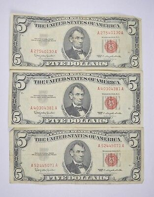 Lot of 3 - RED SEAL - $5.00 United States Notes - 1963 Lot Collection *345