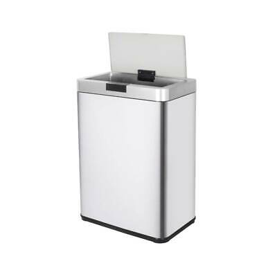 13 Gallon Stainless Steel Automatic Trash Can Sensor Touchless Kitchen Bin + Lid
