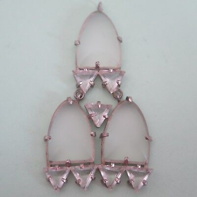Vtg Art Deco Sterling Silver Frosted Glass Crystal Geometric Pendant Necklace