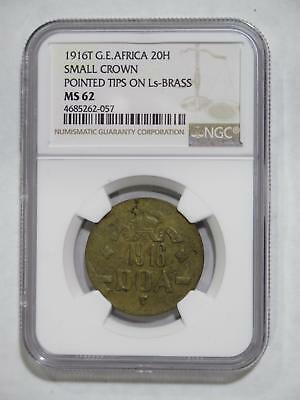 German East Africa  Deutsch Ostafrika 1916 T 20 Heller Bra Ngc Ms62 S-C Coin Lot