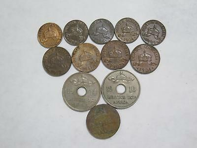 German East Africa Deutsch Ostafrika  1/2 1 5 10 Heller Old Coin Collection Lot