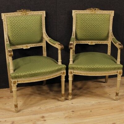 Pair armchairs chairs living room Italian furniture lacquered wood antique style