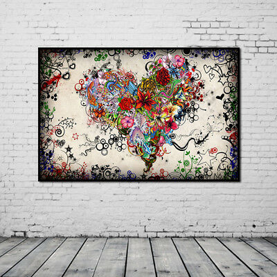Huge Wall Decor Oil Painting Heart Unframed Colorful Flowers Modern On Canvas